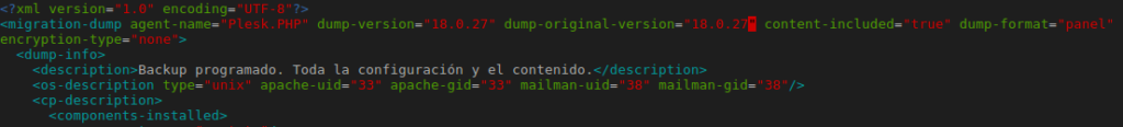Etiqueta de version Plesk en backup XML