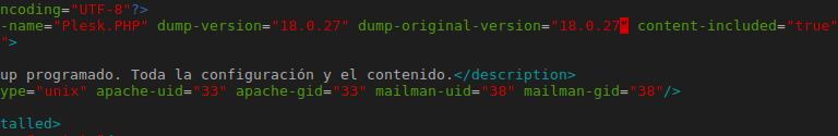Etiqueta de versión Plesk en backup XML