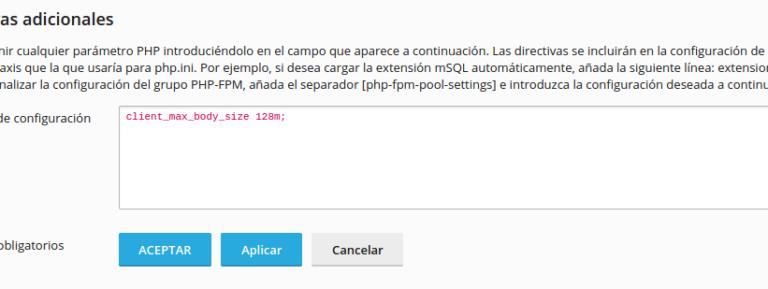 Directivas adicionales de PHP en Plesk