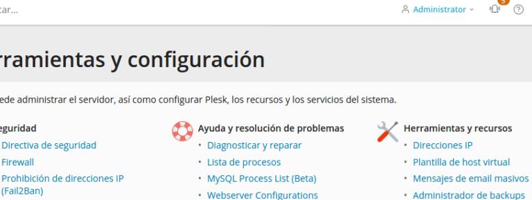 Herramientas y configuración en Plesk